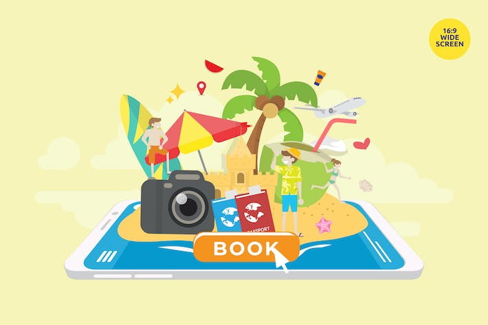 Thumbnail for Summer Holiday Travel Booking Vector Concept