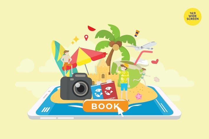 Vacances d'été Réservation Vecteur Concept