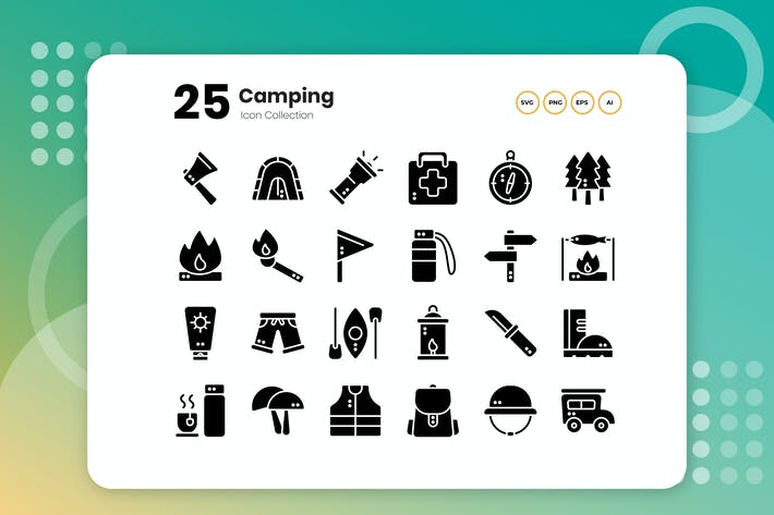 Thumbnail for 25 Camping Glyph Icon