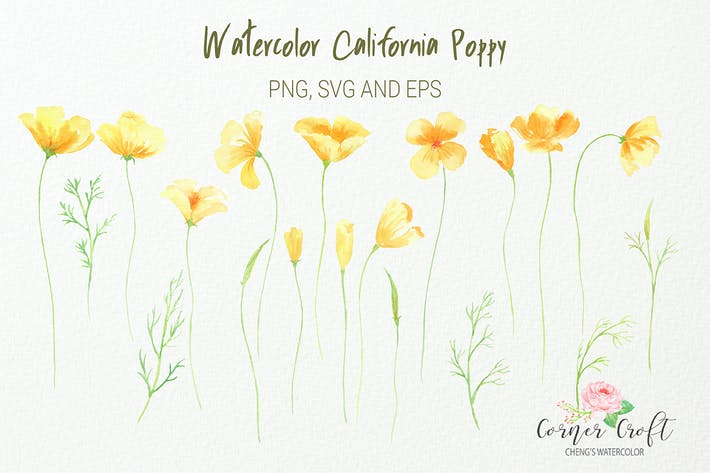 Thumbnail for Watercolor California poppy, silhouette, png, svg