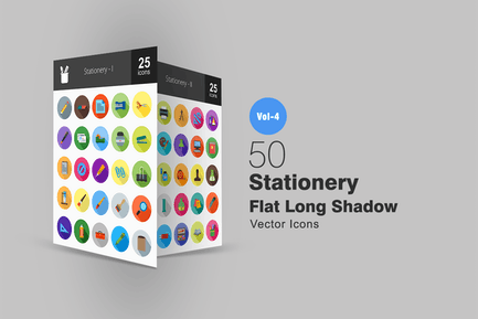 50 Stationery Flat Shadowed Icons