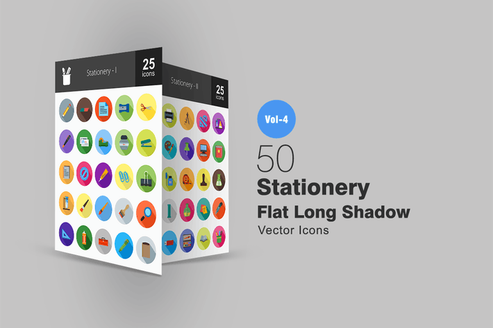 Thumbnail for 50 Stationery Flat Shadowed Icons