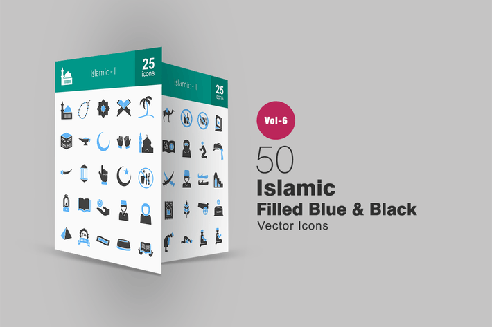 Thumbnail for 50 Islamic Blue & Black Icons