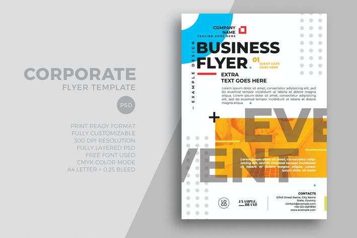 Thumbnail for Minimal Flat Corporate Flyer Template