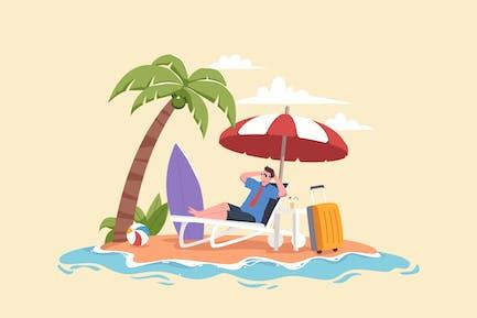 Man Relaxing at Beach during Summer
