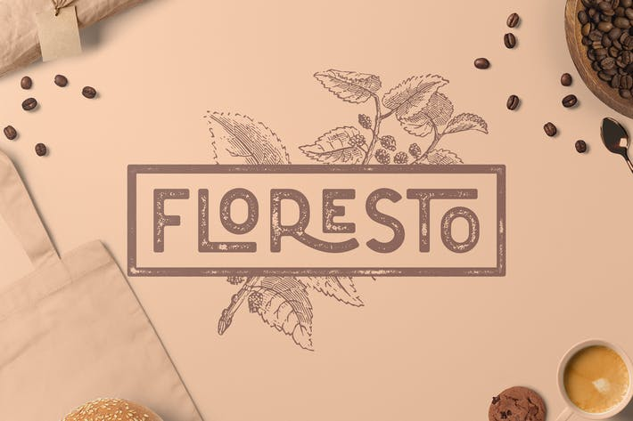 Thumbnail for Floresto Textured Tipo de letra