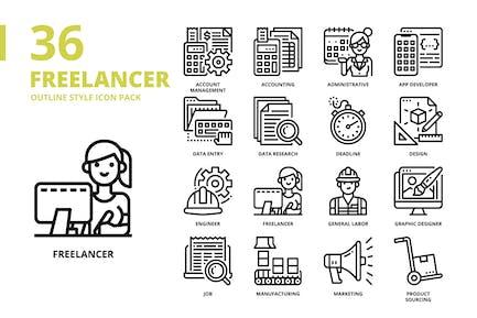 Freelancer Outline Style Icon Set