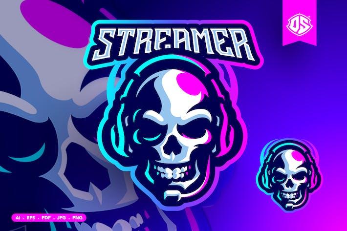 Skull Streamer Mascot Logo Template