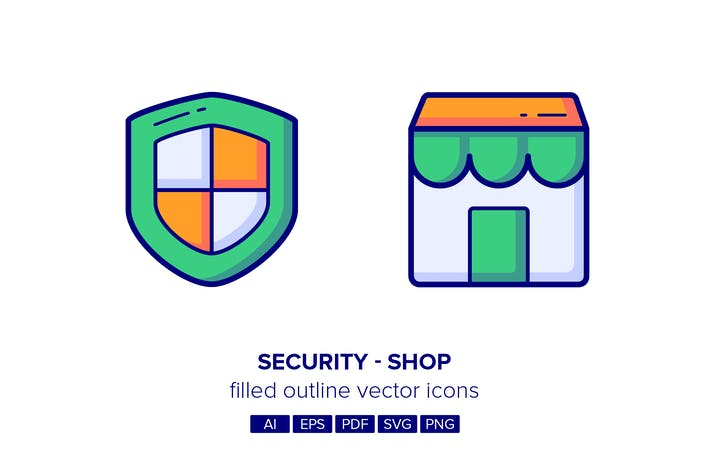 Thumbnail for Security & Shop Filled Outline Icons