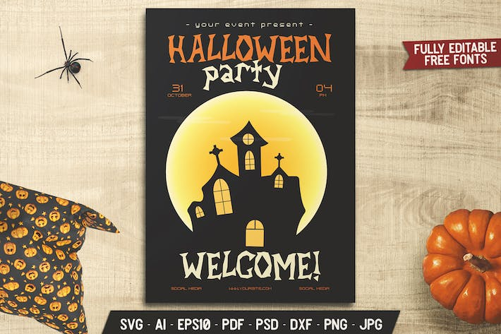 Halloween Castle Party Flyer