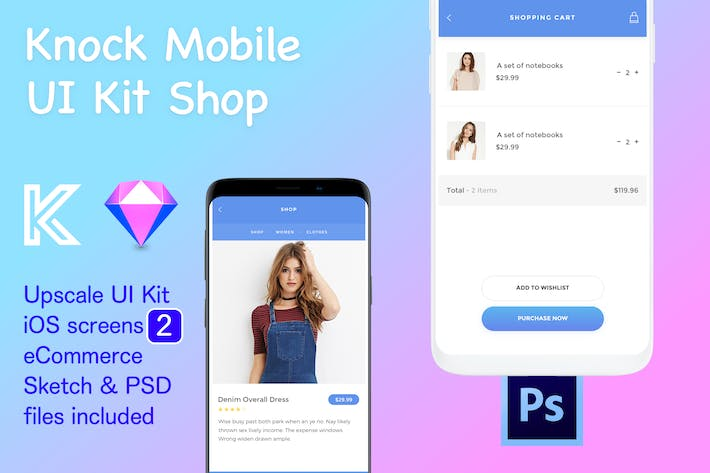 Knock Mobile UI Kit eCommerce - 2 Screens