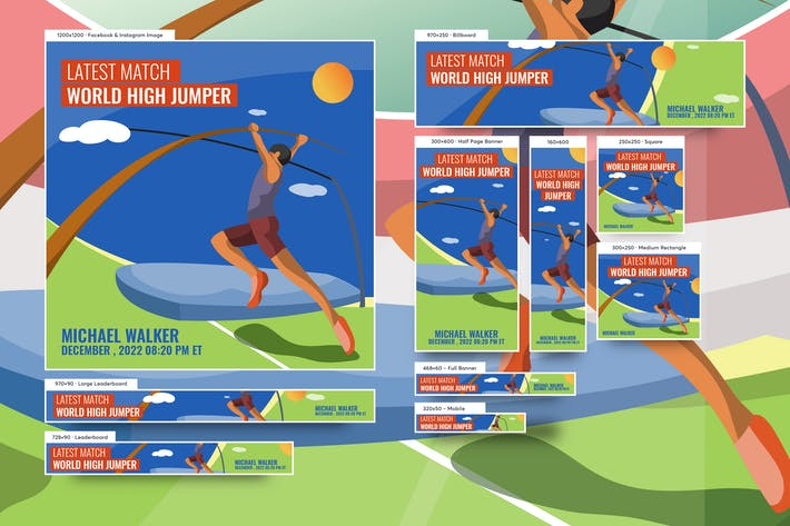 Thumbnail for Male High Jumper Banners Ad Vector Illustration