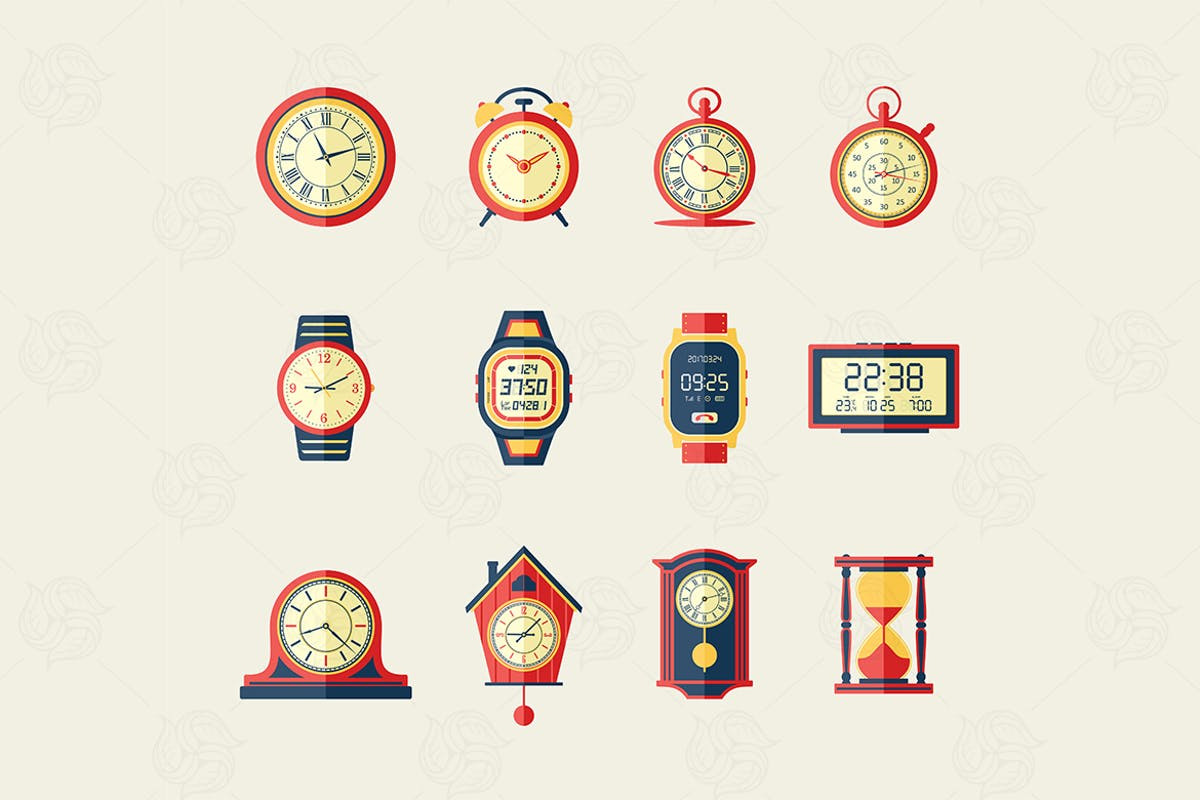 Download Clocks & Watches - modern vector flat icon set. by BoykoPictures by Unknow