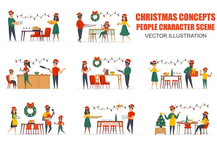 Thumbnail for Christmas Dinner People Character Scenes