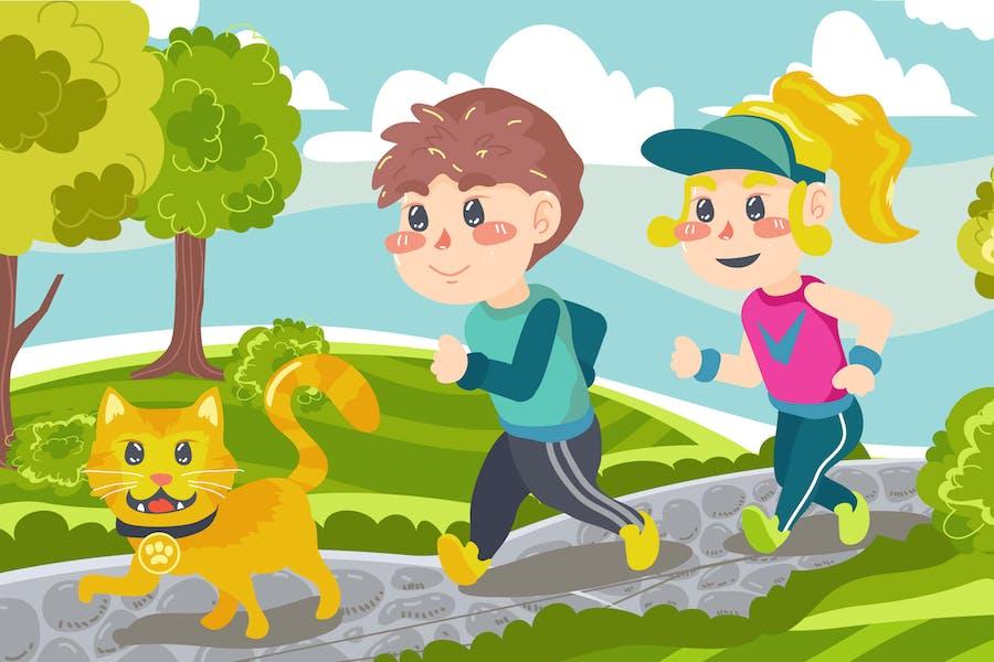 Morning Run Kids Illustration