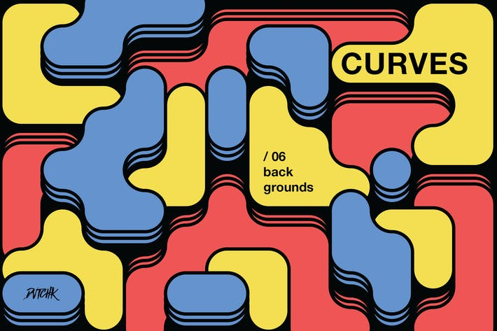 Thumbnail for Curves | Rounded Colorful Blocks Backgrounds