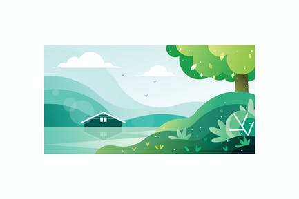 Beautiful view of a house by the lake Illustration
