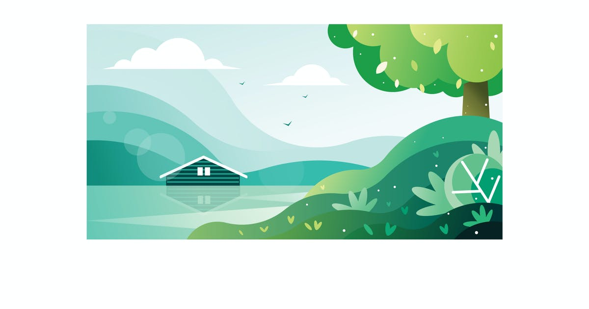 Download Beautiful view of a house by the lake Illustration by IanMikraz