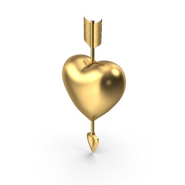 Golden Heart with Arrow