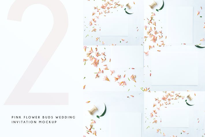 Thumbnail for Pink Flower Buds Wedding Invitation Mockup