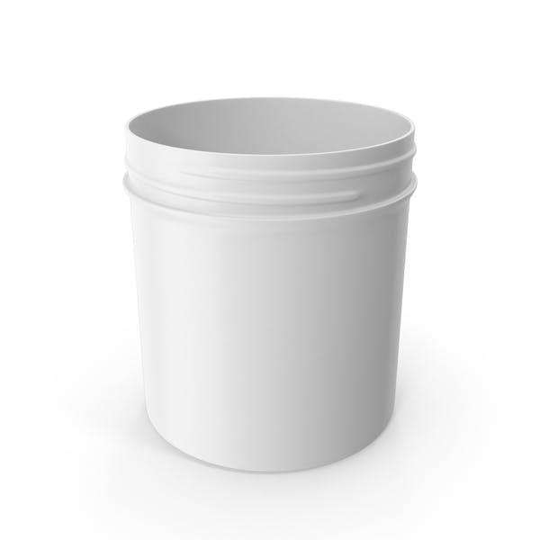 White Plastic Jar Wide Mouth Straight Sided 20oz Without Cap