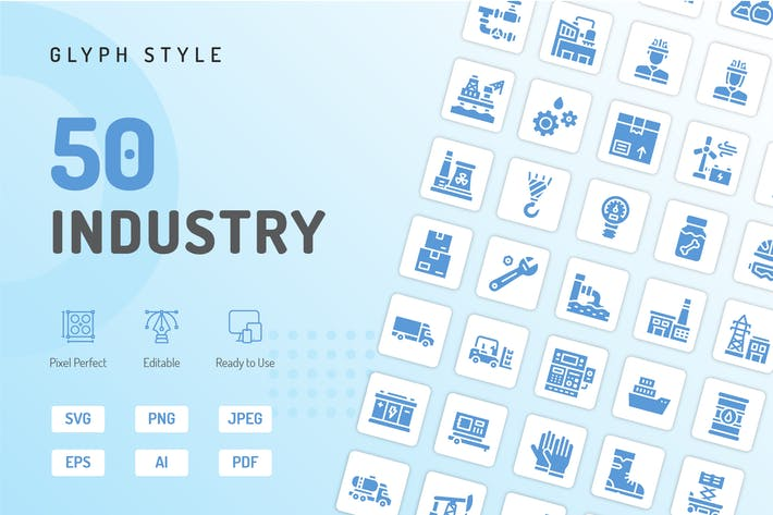 Thumbnail for Industry Glyph Icons