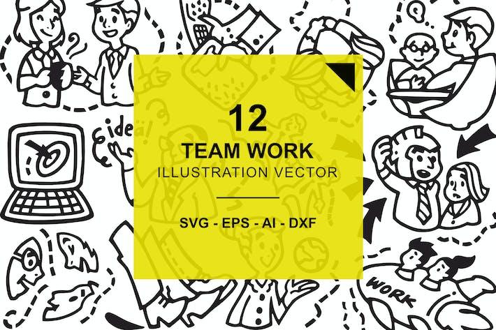 Thumbnail for Team Work Illustration Vector