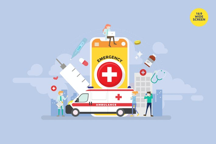 Cover Image For Emergency Health Application Vector Concept