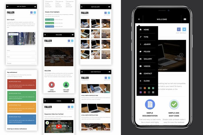 Thumbnail for Faller | Creative Mobile Web App Template