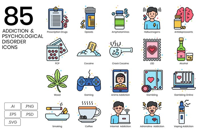 Thumbnail for 85 Addiction & Psychological Disorder Line Icons