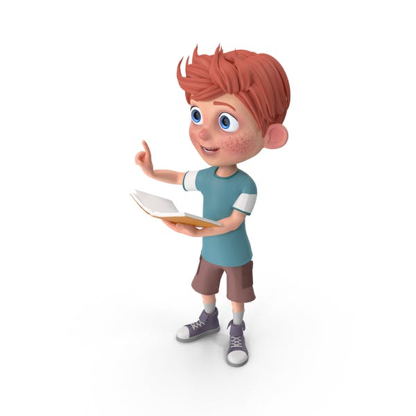 Cartoon Boy Charlie Holding Book