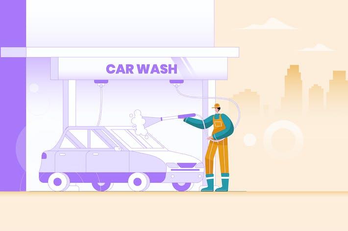 Thumbnail for Car Wash Flat Vector Illustration