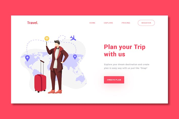 Thumbnail for Travelling - Landing Page Template