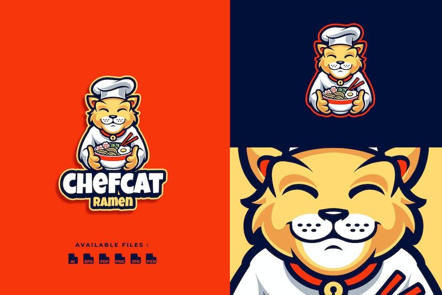 Chef Cat Ramen Cartoon Mascot Logo