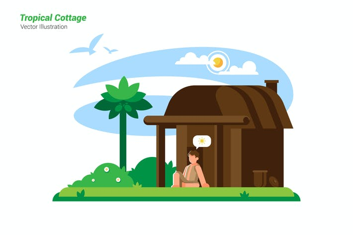 Thumbnail for Tropical Cottage - Vector Illustration