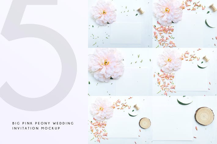 Thumbnail for Big Pink Peony Wedding Invitation Mockup