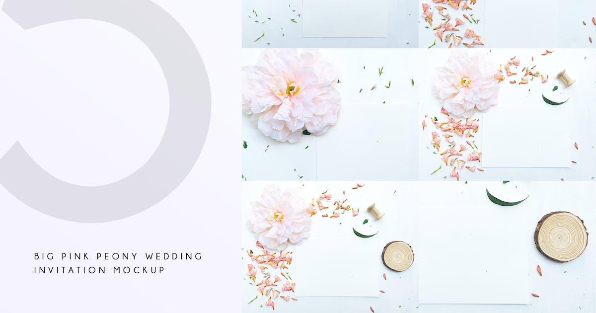 Download Big Pink Peony Wedding Invitation Mockup by Squirrel92