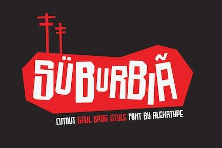 SUBURBIA - cutout saul bass style font