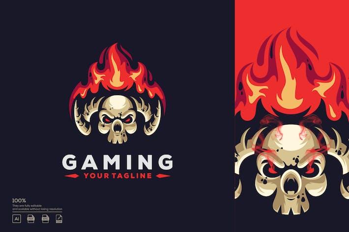 Thumbnail for skull fire logo design