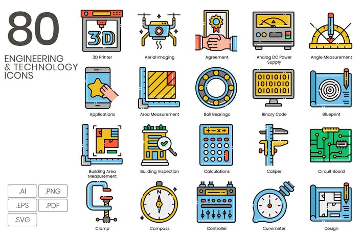80 Engineering & Technology Line Icons