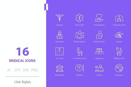 Medizinisches Krankenhaus Icon Set Line Styles