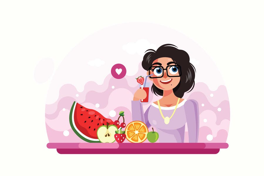 Young Girl Drinking Juice Vector Illustration
