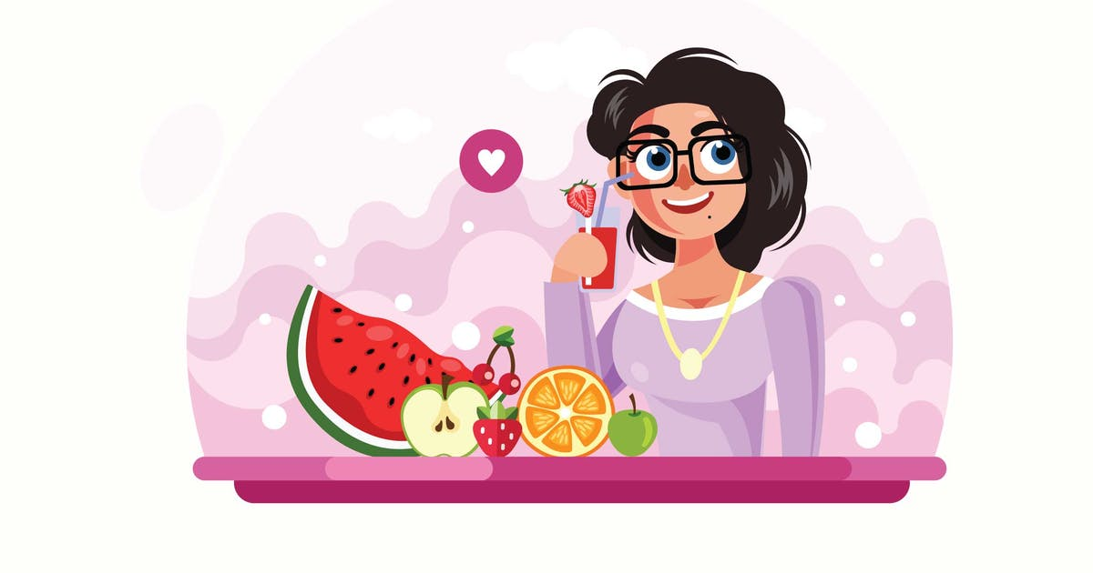 Young Girl Drinking Juice Vector Illustration by IanMikraz