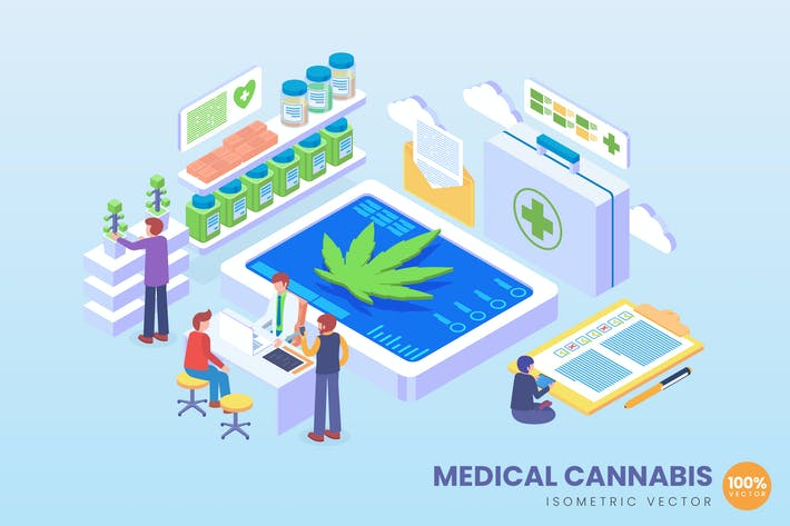 Thumbnail for Isometric Medical Cannabis Vector Concept
