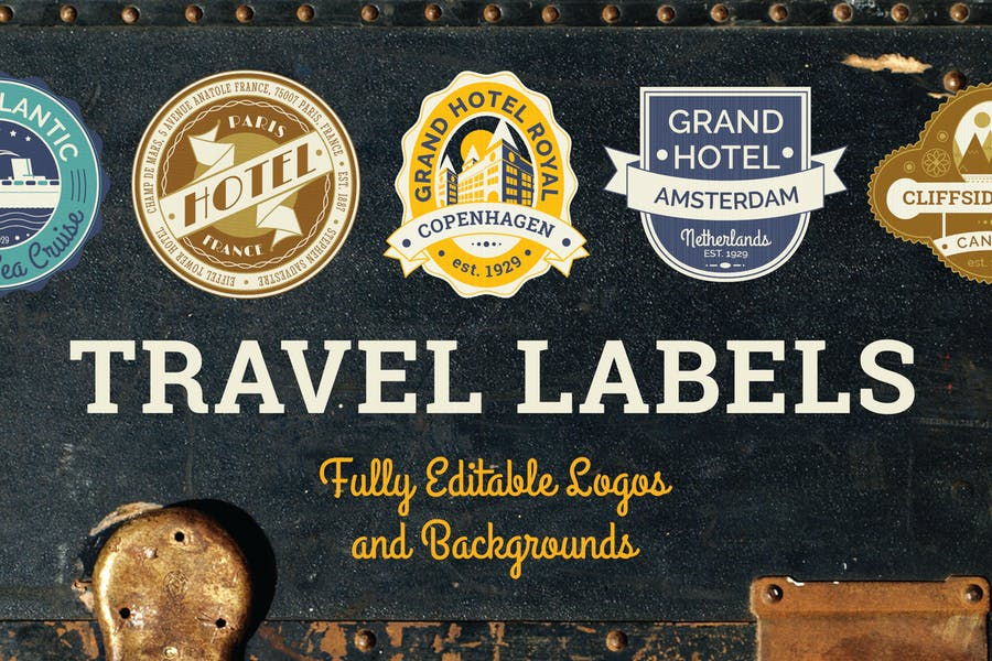 Editable Travel Labels and Logo Designs