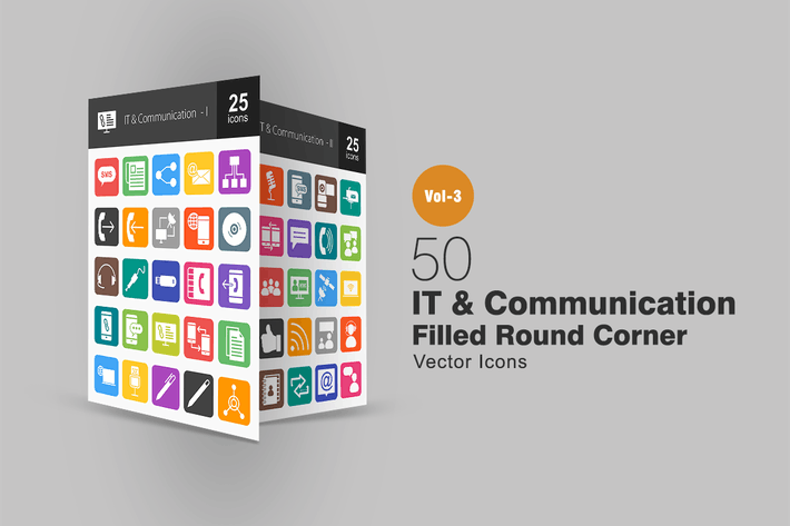 Thumbnail for 50 IT & Communication Flat Round Corner Icons