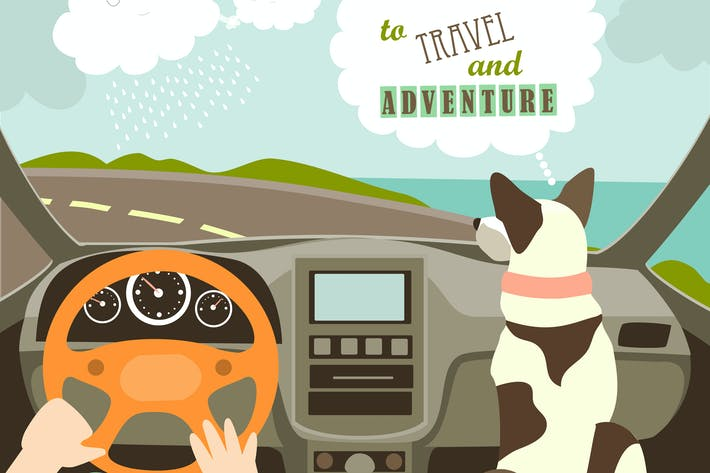 Owner having a car trip with their dog. Vector