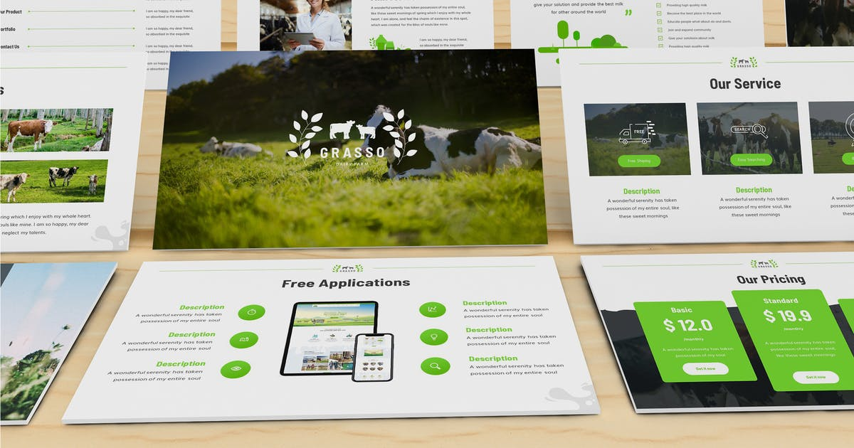 Download Grasso - Dairy Farm Powerpoint Template by SlideFactory