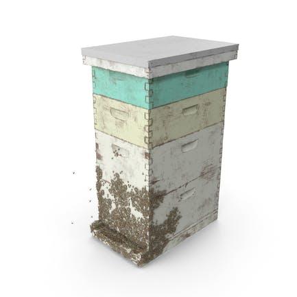 Bemalte Beehive Brood Box mit Bienen