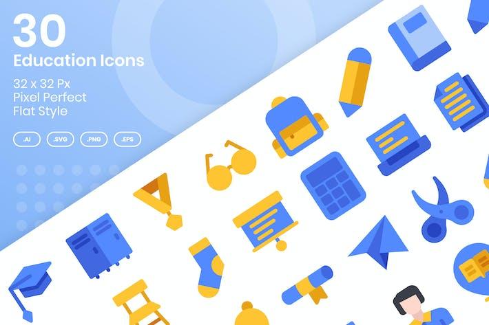 Thumbnail for 30 Education Icons Set - Flat